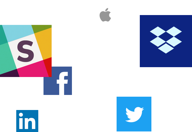 logos from Slack, Dropbox, LinkedIn, and Apple are floating on a pastel background